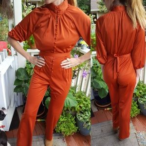 Vintage jumpsuit size small rusty Orange